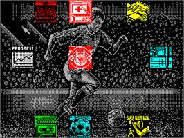In game image of Manchester United on the Sinclair ZX Spectrum.