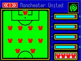 In game image of Manchester United Europe on the Sinclair ZX Spectrum.