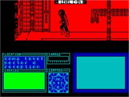 In game image of Marsport on the Sinclair ZX Spectrum.