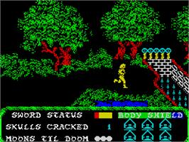 In game image of Masters of the Universe: The Arcade Game on the Sinclair ZX Spectrum.