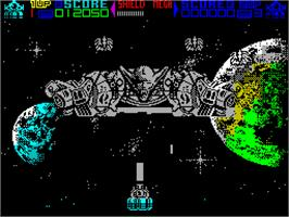 In game image of Mega Phoenix on the Sinclair ZX Spectrum.