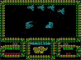 In game image of Meganova on the Sinclair ZX Spectrum.