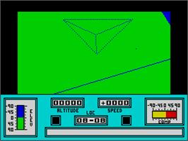 In game image of Mercenary: Escape From Targ with the Second City on the Sinclair ZX Spectrum.