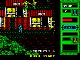 In game image of Mercs on the Sinclair ZX Spectrum.