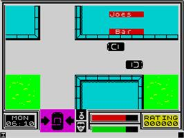 In game image of Miami Vice on the Sinclair ZX Spectrum.
