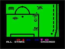 In game image of Microprose Pro Soccer on the Sinclair ZX Spectrum.