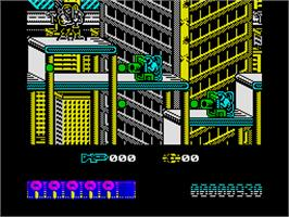 In game image of Midnight Resistance on the Sinclair ZX Spectrum.