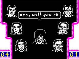 In game image of Mike Read's Computer Pop Quiz on the Sinclair ZX Spectrum.