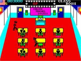 In game image of Mikie on the Sinclair ZX Spectrum.