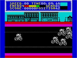 In game image of Milk Race on the Sinclair ZX Spectrum.