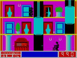 In game image of Mission Elevator on the Sinclair ZX Spectrum.