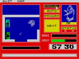In game image of Mission Omega on the Sinclair ZX Spectrum.