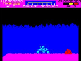 In game image of Moon Alert on the Sinclair ZX Spectrum.