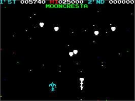 In game image of Moon Cresta on the Sinclair ZX Spectrum.