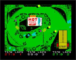 In game image of Moto X Simulator on the Sinclair ZX Spectrum.