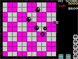 In game image of Motos on the Sinclair ZX Spectrum.