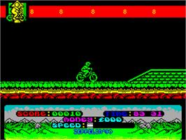 In game image of Mountain Bike Racer on the Sinclair ZX Spectrum.