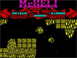 In game image of Mr. Heli on the Sinclair ZX Spectrum.