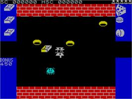 In game image of Mr. Wimpy: The Hamburger Game on the Sinclair ZX Spectrum.