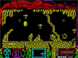 In game image of Mutan Zone on the Sinclair ZX Spectrum.
