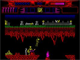 In game image of Myth: History in the Making on the Sinclair ZX Spectrum.
