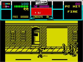 In game image of NARC on the Sinclair ZX Spectrum.