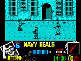 In game image of Navy Seals on the Sinclair ZX Spectrum.