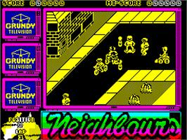 In game image of Neighbours on the Sinclair ZX Spectrum.