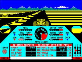 In game image of Nigel Mansell's Grand Prix on the Sinclair ZX Spectrum.