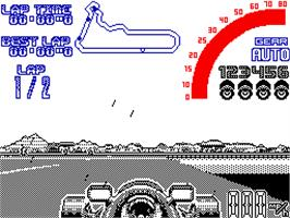 In game image of Nigel Mansell's World Championship on the Sinclair ZX Spectrum.