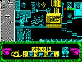In game image of Night Shift on the Sinclair ZX Spectrum.
