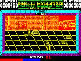 In game image of Ninja Scooter Simulator on the Sinclair ZX Spectrum.