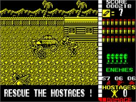 In game image of Operation Wolf on the Sinclair ZX Spectrum.