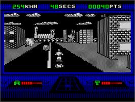 In game image of OutRun Europa on the Sinclair ZX Spectrum.
