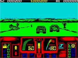 In game image of Overlander on the Sinclair ZX Spectrum.