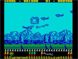 In game image of P-47 Thunderbolt: The Freedom Fighter on the Sinclair ZX Spectrum.