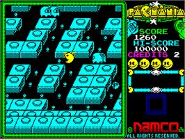 In game image of Pac-Mania on the Sinclair ZX Spectrum.