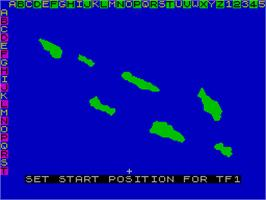 In game image of Pacific War on the Sinclair ZX Spectrum.