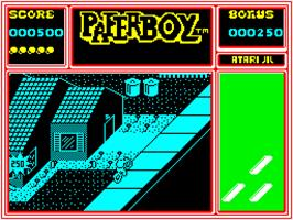 In game image of Paperboy on the Sinclair ZX Spectrum.