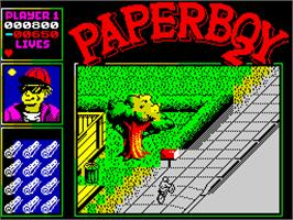 In game image of Paperboy 2 on the Sinclair ZX Spectrum.