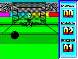 In game image of Penalty Soccer on the Sinclair ZX Spectrum.