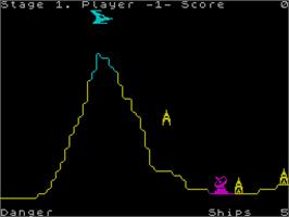 In game image of Penetrator on the Sinclair ZX Spectrum.
