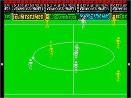 In game image of Peter Beardsley's International Football on the Sinclair ZX Spectrum.