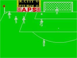 In game image of Peter Shilton's Handball Maradona! on the Sinclair ZX Spectrum.