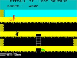In game image of Pitfall II: Lost Caverns on the Sinclair ZX Spectrum.