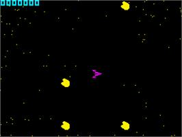 In game image of Planetoids on the Sinclair ZX Spectrum.