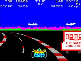 In game image of Pole Position on the Sinclair ZX Spectrum.