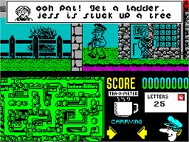 In game image of Postman Pat 2 on the Sinclair ZX Spectrum.