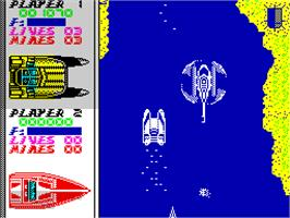 In game image of Pro Powerboat Simulator on the Sinclair ZX Spectrum.