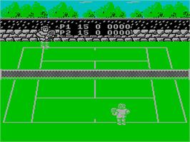 In game image of Pro Tennis Simulator on the Sinclair ZX Spectrum.